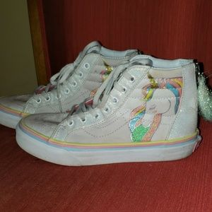 Vans unicorn sneakers with zipper and gold tassel
